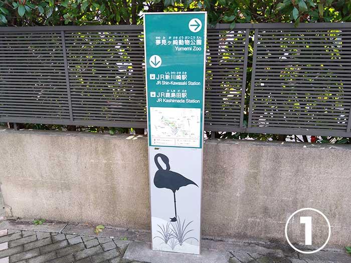 夢見ヶ崎動物公園へのアクセス看板