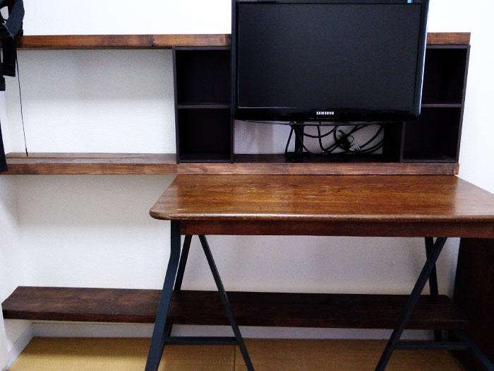 角ちゃぶ台の上に棚を作る