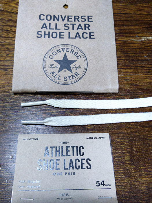 「CONVERSE ALL STAR SHOE LACES」と「ATHLETIC SHOE LACES」を比較