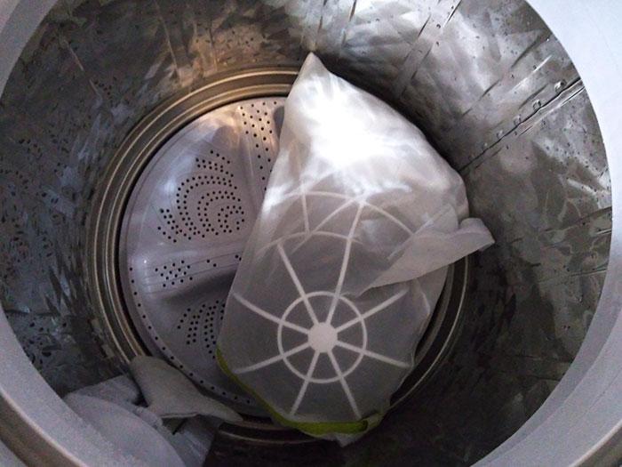 洗濯機でキャップを洗う